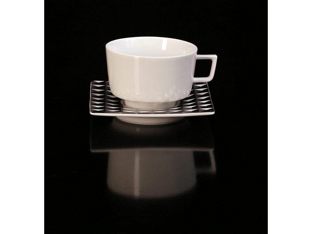 Čajový šálek s podšálkem - Polygon 153CP | Luxusní porcelán - Atelier JM Lesov