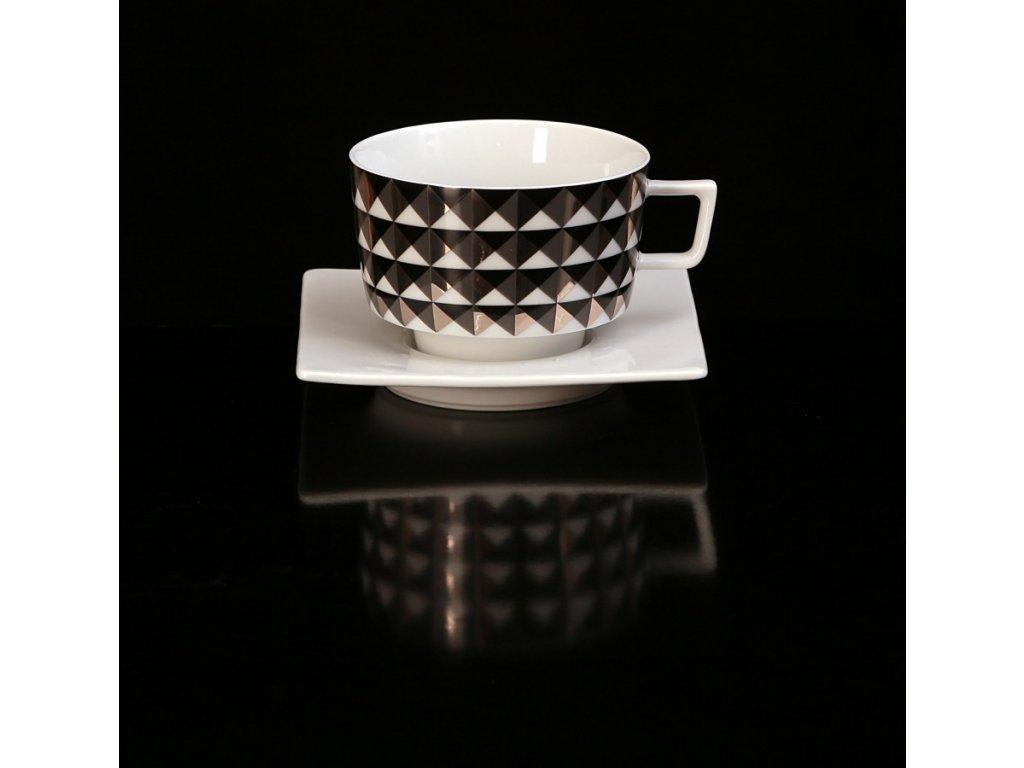 Čajový šálek s podšálkem - Polygon 153CS | Luxusní porcelán - Atelier JM Lesov