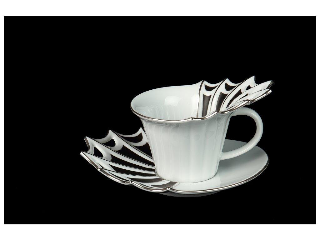 Kávový šálek s podšálkem a dezertním talířkem - Butterfly | Luxusní porcelán - Atelier JM Lesov
