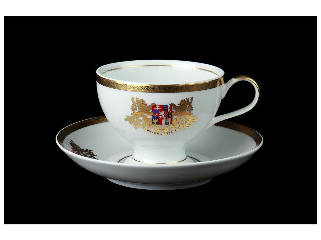 Čajový, kávový šálek s podšálkem - 100 let Československa | Luxusní porcelán - Atelier JM Lesov