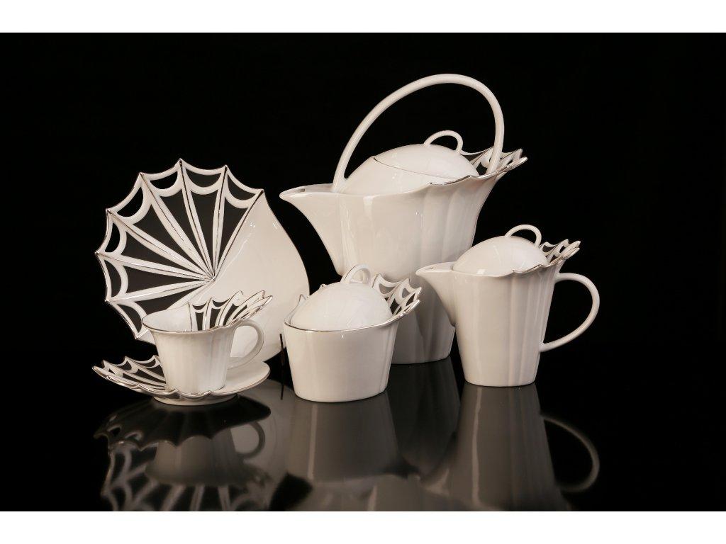 Porcelánová čajová souprava - Butterfly | Luxusní porcelán - Atelier JM Lesov
