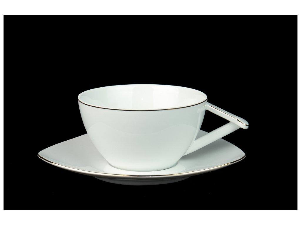 Čajový šálek s podšálkem - Delta UNI | Luxusní porcelán - Atelier JM Lesov