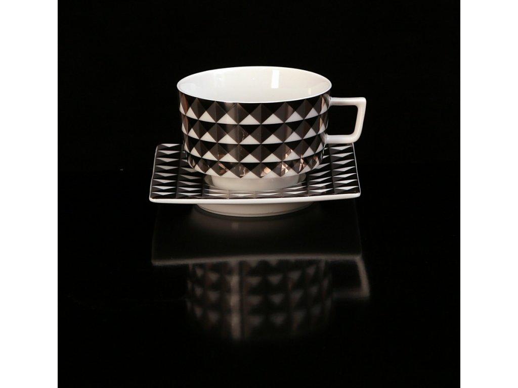 Čajový šálek s podšálkem - Polygon 153C | Luxusní porcelán - Atelier JM Lesov
