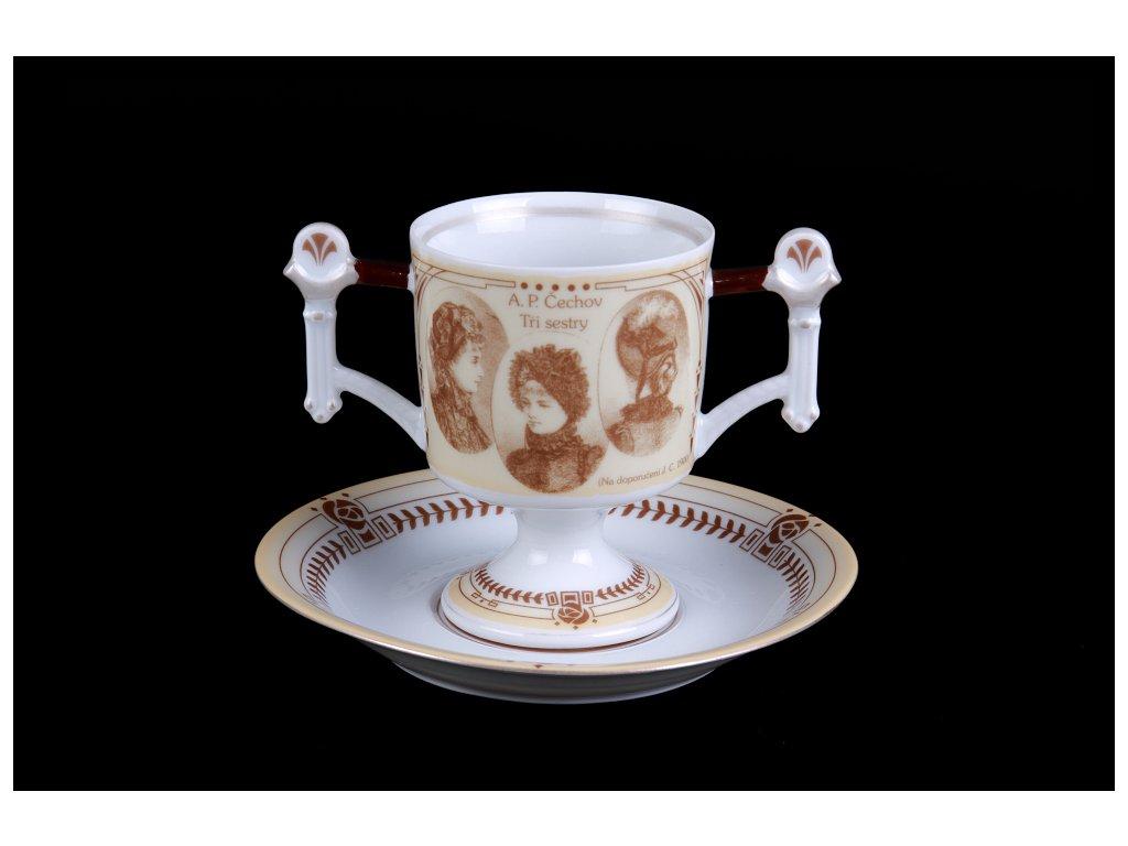 Kávový šálek s podšálkem - Jára Cimrman | Luxusní porcelán - Atelier JM Lesov