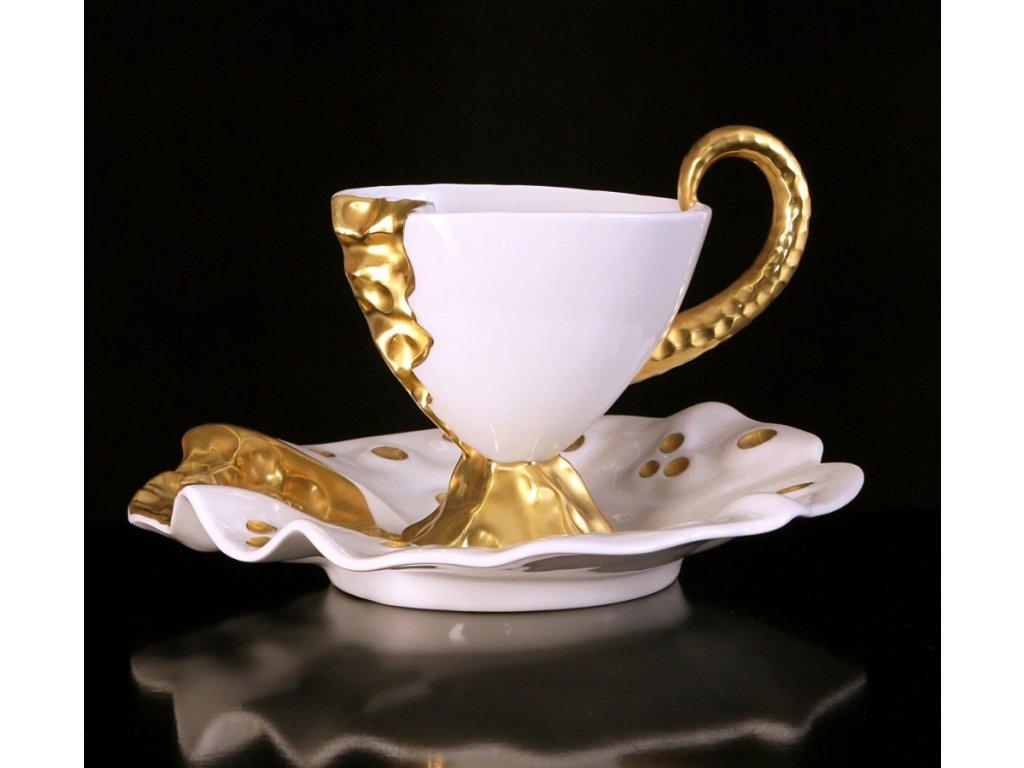 Kávový šálek s podšálkem - Dino | Luxusní porcelán - Atelier JM Lesov