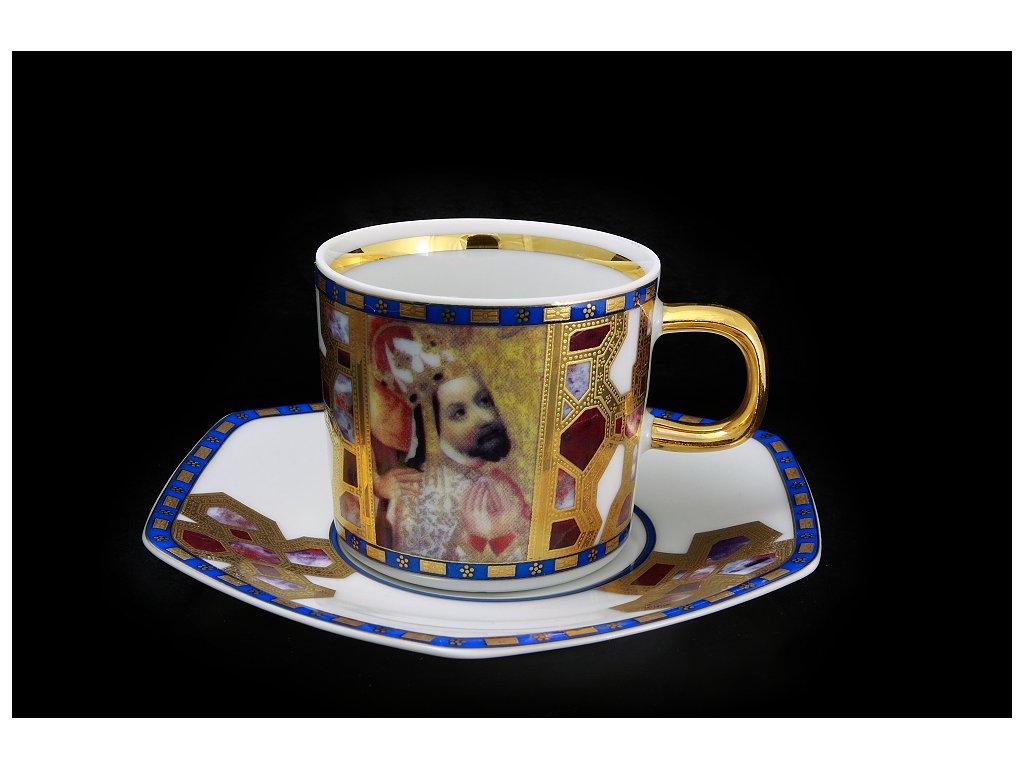 Kávový šálek s podšálkem - Karel IV. | Luxusní porcelán - Atelier JM Lesov