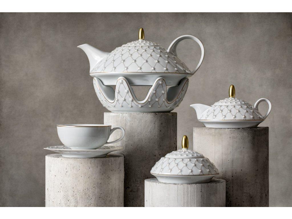 Porcelánová čajová souprava - Galaxie 303 | Luxusní porcelán, Galaxie - Atelier JM Lesov