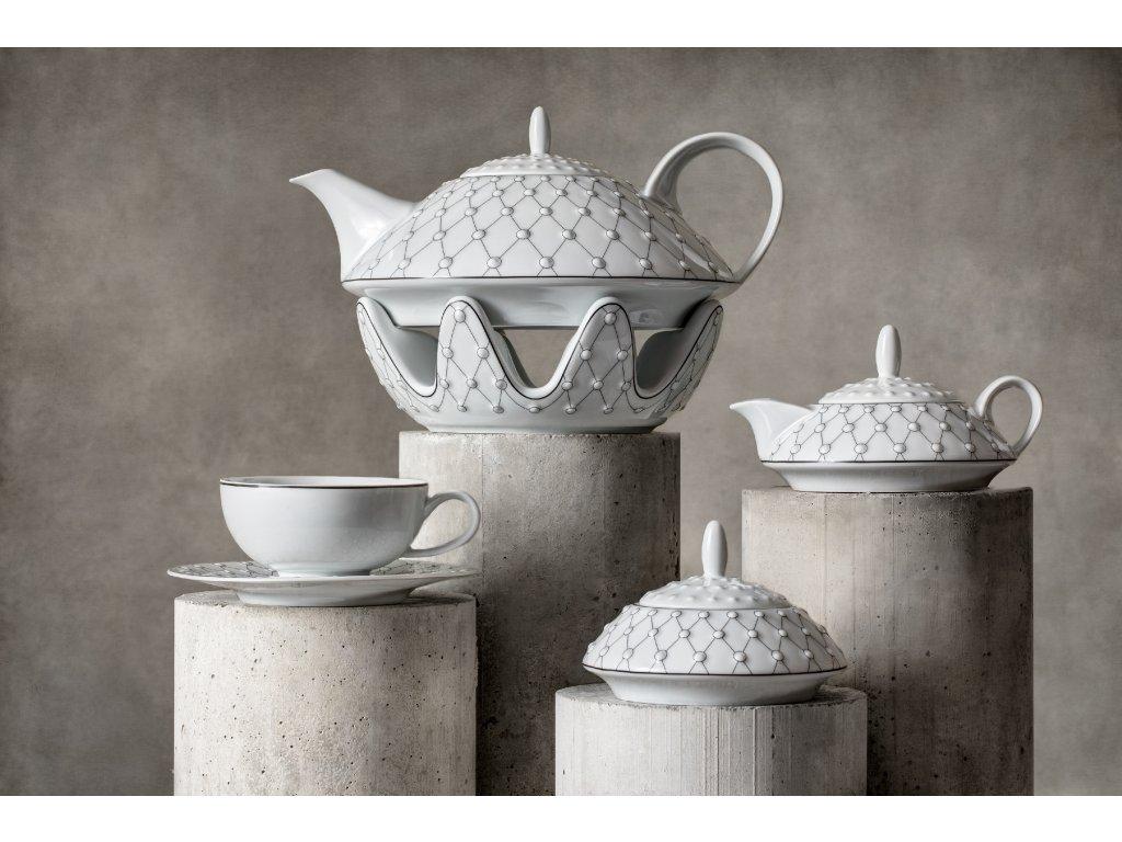 Galaxie, porcelánová souprava, čajová souprava, čajový set, konvice, atelier lesov, porcelán