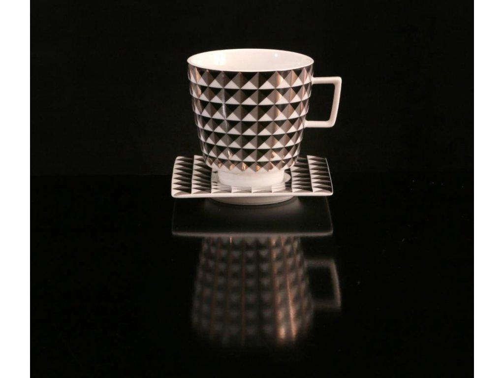 Snídaňový šálek s podšálkem - Polygon 153C | Luxusní porcelán - Atelier JM Lesov