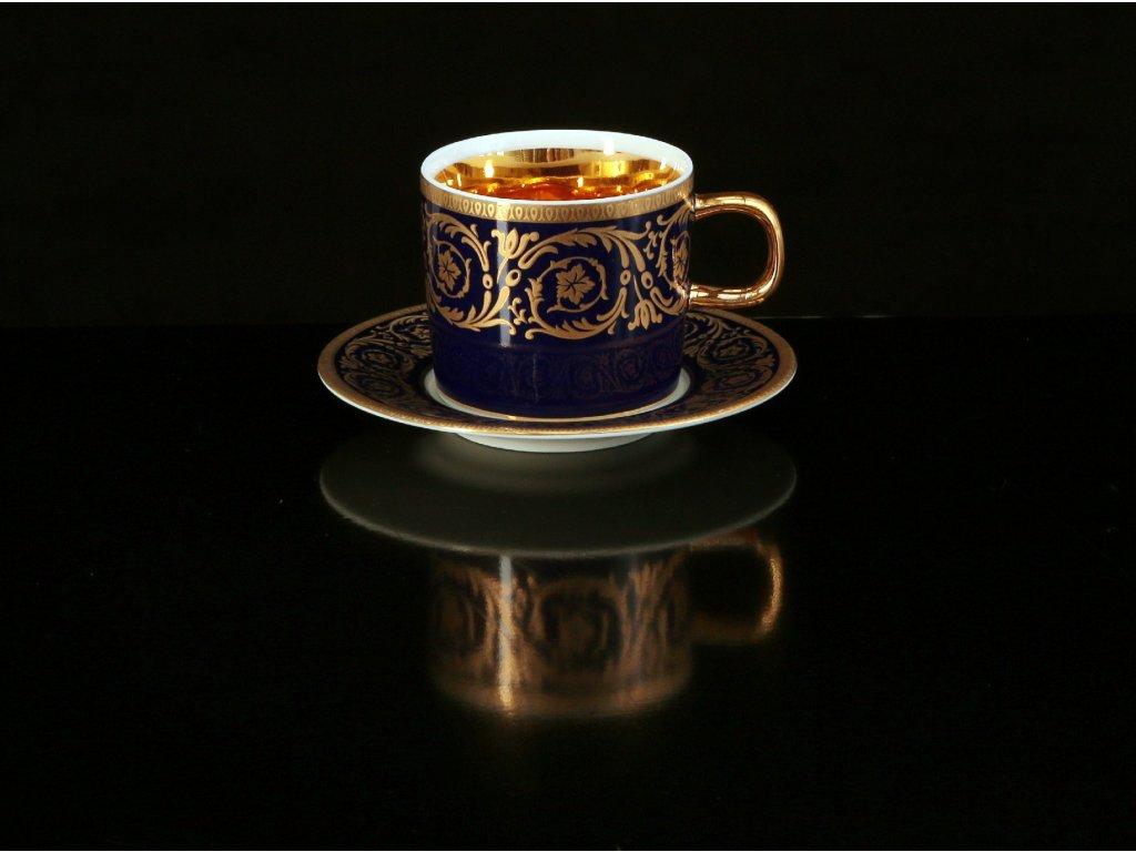 kávový šálek, podšálek, kávové soupravy porcelán, kávový set, kávový servis, souprava na kávu, hrnky na kávu, kávové šálky, porcelán, karlovarský porcelán, český porcelán, Atelier Lesov, Imperial Gold, kobalt, zlato