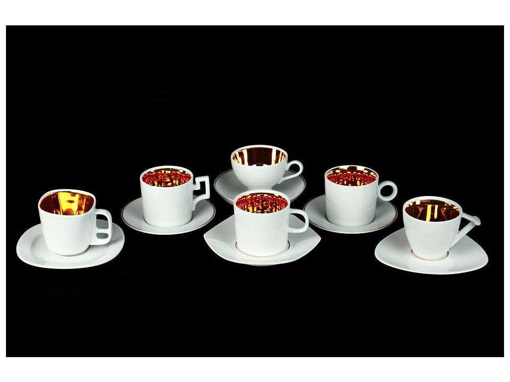 kávový šálek, podšálek, best of lesov, zlato, kávové a čajové soupravy porcelán, kávový set, kávový servis, souprava na kávu, hrnky na kávu, kávové šálky, porcelán, karlovarský porcelán, český porcelán, Atelier Lesov, Best of Lesov