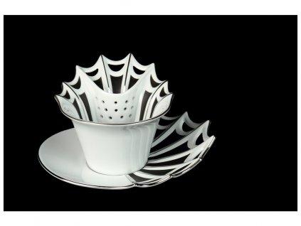 Čajový šálek s podšálkem a dezertním talířkem - Butterfly | Luxusní porcelán - Atelier JM Lesov