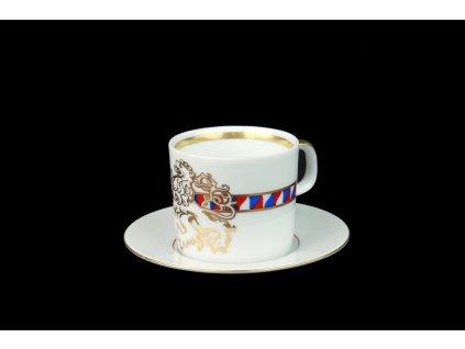 šálek s podšálkem, český lev, šálky, kávové šálky, kávové soupravy, šálek na kávu, hrnek s podšálkem, hrnek na kafe, hrnky na kávu, kávový servis, kávový set, autorské soupravy, porcelán, karlovarský porcelán, mokka šálek, český porcelán, Atelier Lesov