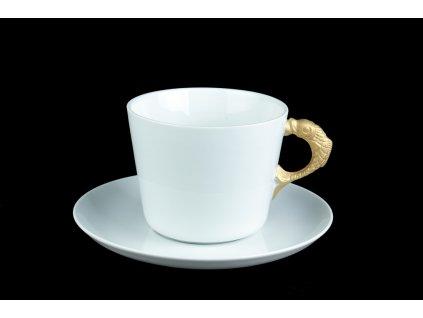 šálek s podšálkem - Goldfish, zlatá rybka | Luxusní porcelán - Atelier JM Lesov