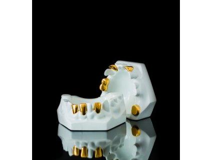 dóza na šperky, šperkovnice, dóza na pralinky, porcelánová dóza,karlovarský porcelán, český porcelán, cesky porcelan, porcelán, porcelán prodej, Atelier Lesov, zuby, zlato, zubní protéza, protéza, extrémní design