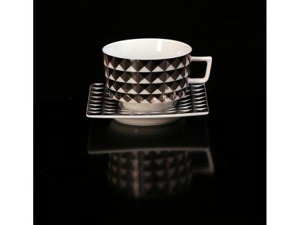 čajový šálek, Polygon, podšálek, čajové soupravy porcelán, čajový set, čajový servis, souprava na čaj, hrnky na čaj, čajové šálky, porcelán, karlovarský porcelán, český porcelán, atelier lesov
