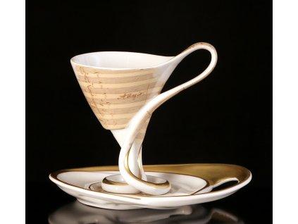 Kávový šálek s podšálkem - Antonín Dvořák | Luxusní porcelán - Atelier JM Lesov