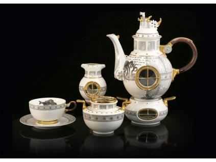 Porcelánová čajová souprava - Jules Verne | Luxusní porcelán - Atelier JM Lesov