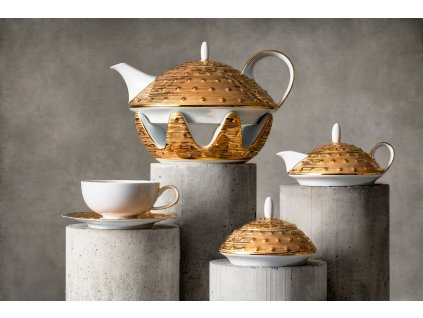 Atelier JM Lesov, Galaxie, čajový souprava, luxusní porcelán, zlatý porcelán