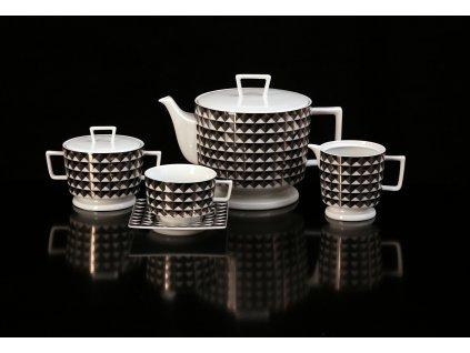 Porcelánová čajová souprava - Polygon 153CE | Luxusní porcelán - Atelier JM Lesov
