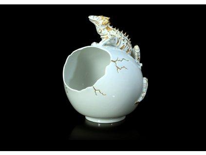 kaviár,mísa, porcelánová mísa, karlovarský porcelán, český porcelán, ještěr, porcelán, atelier lesov