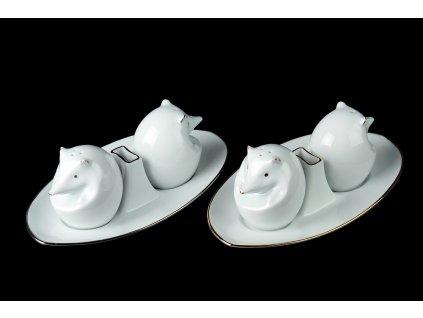 slánka a pepřenka, solnička a pepřenka,ježek artur, karlovarský porcelán, český porcelán, porcelán, atelier lesov