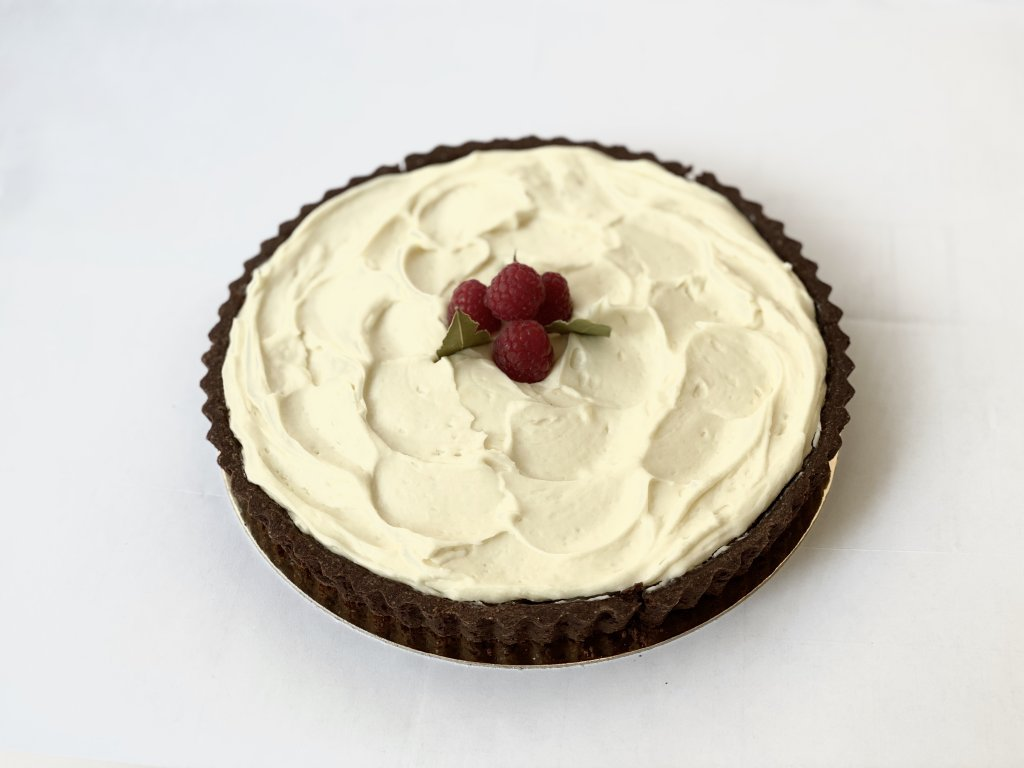 Malinový koláč s bílou čokoládou Mini