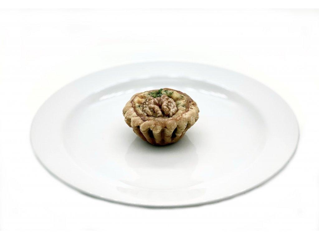 Mini košíček - Quiche s ořechy a pikantní nivou