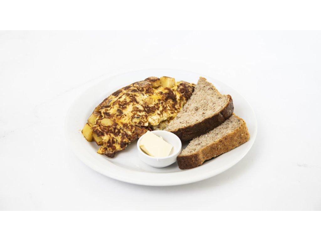 omeleta slanina brambor