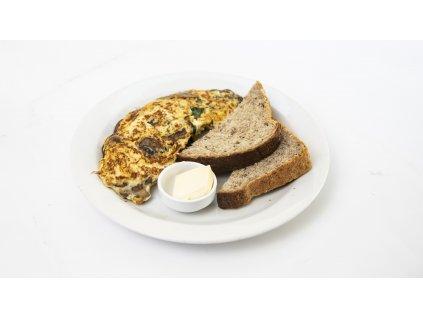 omeleta špenát žampiony