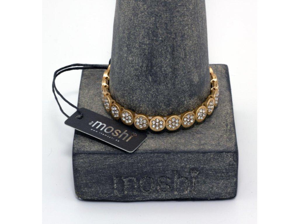 Náramek zlatý matný s kamínky