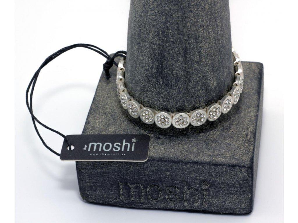 Náramek stříbrný matný s kamínky