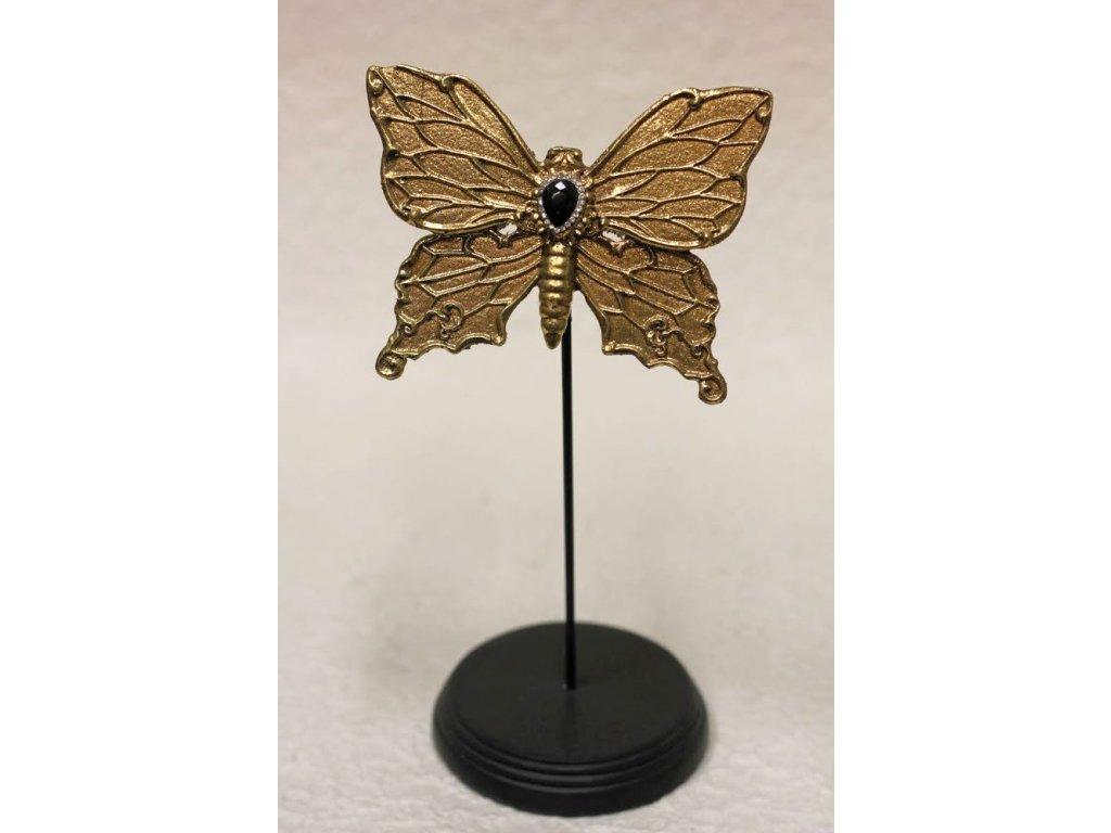Designová dekorace zlatá 24 cm motýl