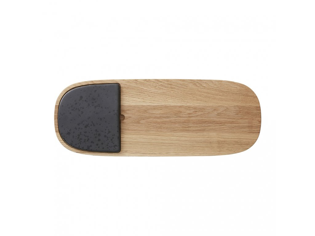 stoneware wooden serving board black 496466