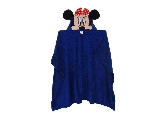 Flísová deka s kapucí MINNIE hq 4385 tm. modrá 80 x 120 cm