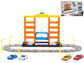 Parkovací garáž 57x36x22,5cm s výtahem a auty 6,5 cm 4 ks volný chod v krabičce