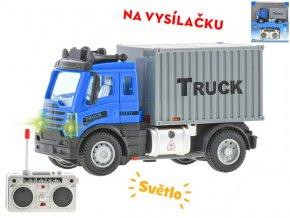 R/C auto nákladní kontejnerové 12,5 cm 1:64 plná funkce na baterie se světlem 27MHz v krabičce
