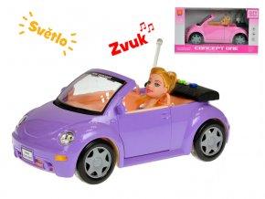 Auto kabriolet 28 cm s panenkou 23 cm na baterie se světlem a zvukem v krabičce