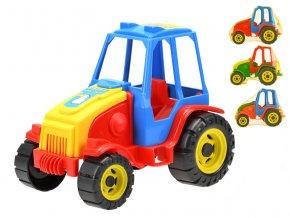 Traktor 21 cm volný chod 4 barvy v síťce