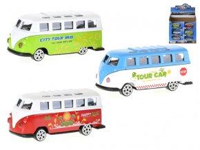 Autobus 7,5 cm kov volný chod 3 barvy v krabičce