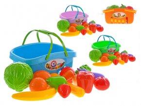 Ovoce a zelenina v plastovém košíku 3 barvy v síťce