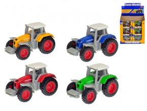 Traktor 7cm kov 1:64 volný chod 4 barvy v krabičce