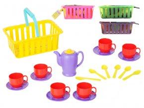 Čajový set v košíku 4 barvy v síťce