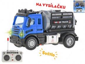 R/C auto nákladní cisterna 12cm 1:64 plná funkce na baterie se světlem 27MHz v krabičce