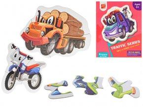 Puzzle dětské 18x13 cm Dopravní prostředky 18 dílků 6 obrázků v krabičce