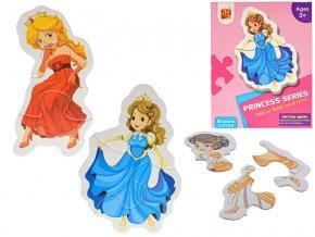 Puzzle dětské 18x13 cm Princezny 17 dílků 6 obrázků v krabičce