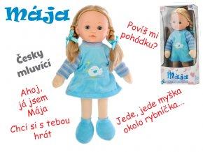 Panenka Mája mrkací 42 cm modrá na baterie česky mluvící