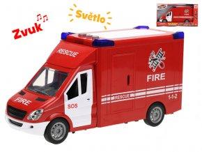 Auto hasiči 27cm na setrvačník na baterie se světlem a zvukem v krabičce