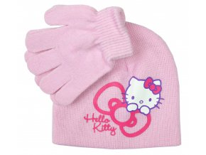 Čepice a rukavice HELLO KITTY nh 4053 růžová