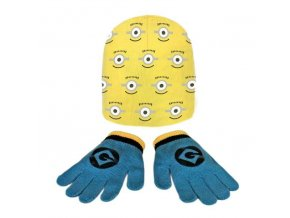 Čepice a rukavice MIMONI  Cer 1076 žluto - modrá